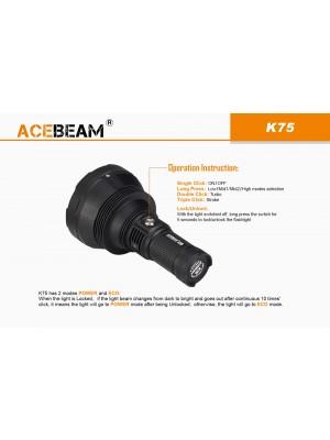 AceBeam K75, Lanternă Profesională, 6300 Lumeni, 2500 Metri, Acumulatori Inclusi