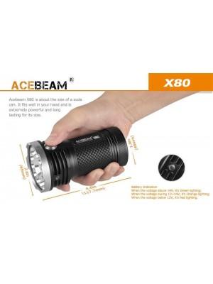 AceBeam X80, Lanternă Profesionala, 25000 Lumeni, 332 Metri