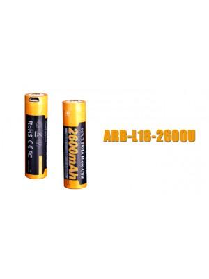 Fenix ARB-L18-2600U, Acumulator 18650, Li-Ion, 2600 mAh, Reincarcabil Micro USB, PCB