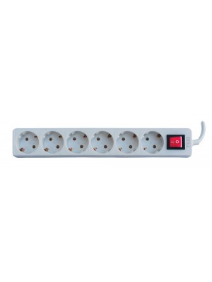 TED Electric, Prelungitor 6 prize schuko + Intrerupator cablu, 3x1mm