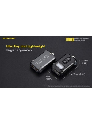 Nitecore TINI2, Lanternă Breloc, Reîncărcabilă USB-C, 500 Lumeni, 89 Metri, Gri