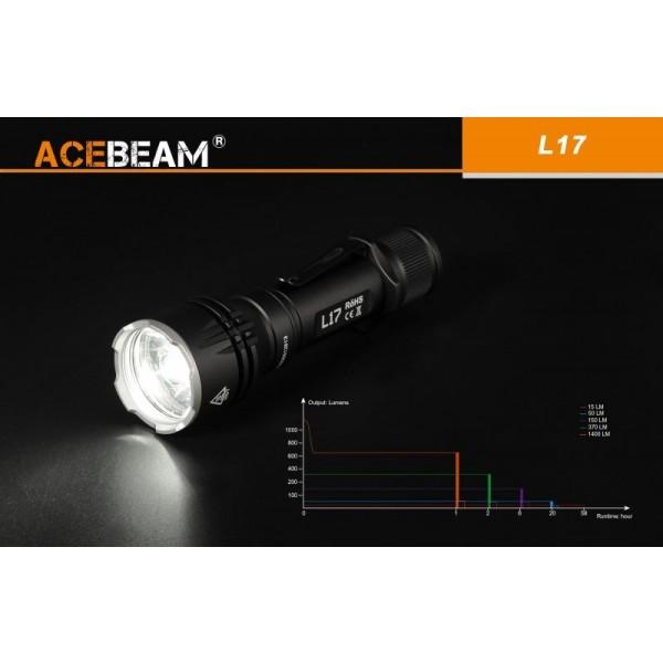 AceBeam L17, Lanternă Profesionala, Lumina Alba 1400 Lumeni, 802 Metri, Acumulator Inclus