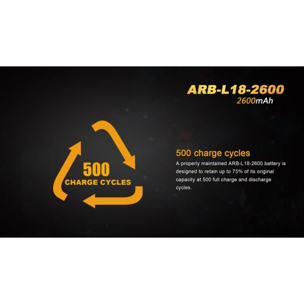 Fenix ARB-L18-2600, Acumulator 18650, Li-Ion 2600 mAh, PCB