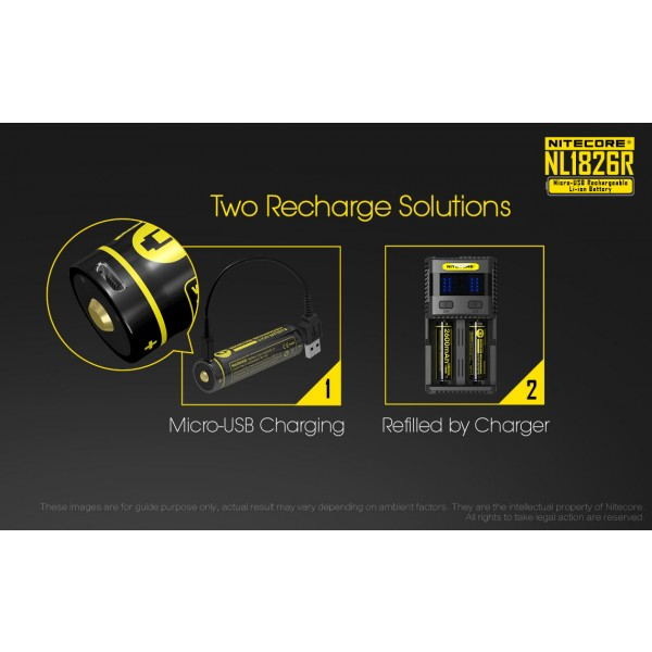 Acumulator Nitecore 18650 Li-Ion 2600 mAh NL1826R cu PCB Reincarcabil US