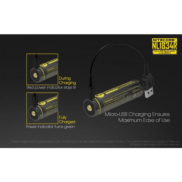 Acumulator Nitecore 18650 Li-Ion 3400 mAh NL1834R cu PCB Reincarcabil USB