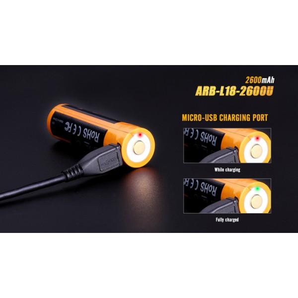Acumulator Fenix ARB-L18 2600U 18650 1600 mAh (Cu Micro-USB) #