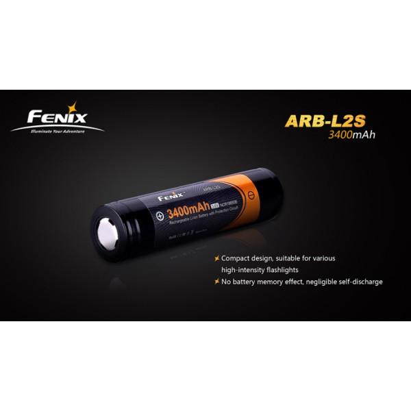 Acumulator Fenix ARB-L2S (NCR18650B) 18650 Li-Ion 3400 mAh (Contact Buton) cu Protecție (PCB)