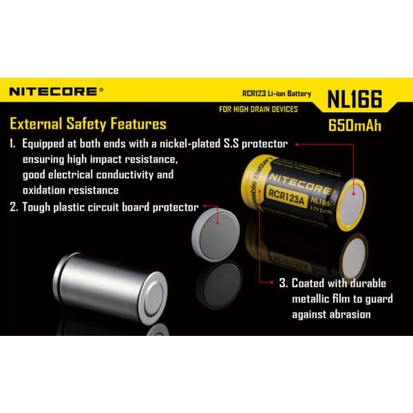 Acumulator RCR123A Li-Ion 650 mAh Nitecore (NL166) ;