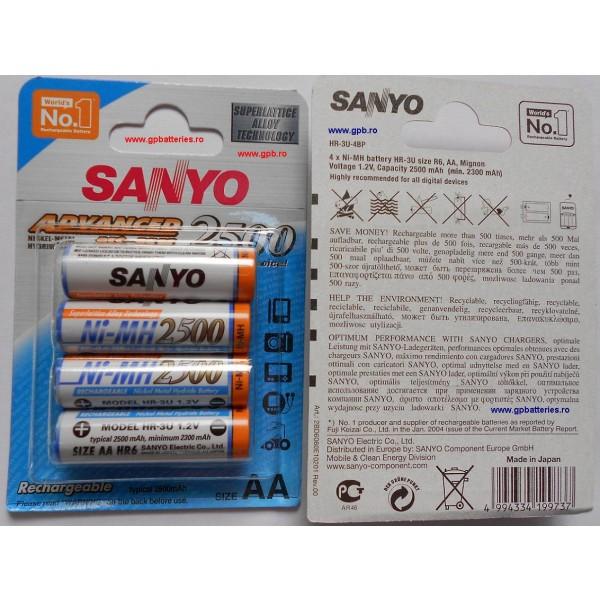 Acumulatori AA Sanyo R6 2500mAh NiMH HR-3U