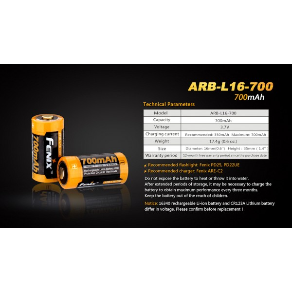 Fenix ARB-L16-700 (Acumulator 16340)