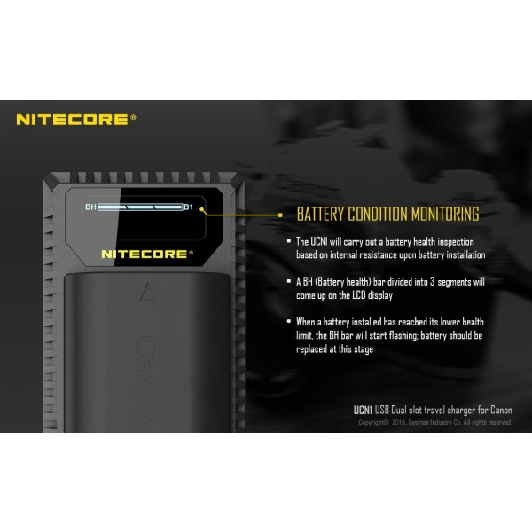 Încărcător Nitecore UCN1 Pentru Acumulatori De Camere Canon