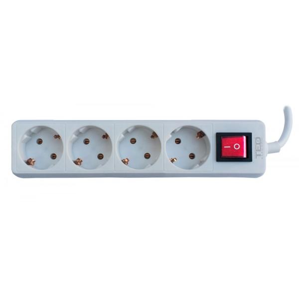 TED Electric, Prelungitor 4 prize schuko + Intrerupator cablu