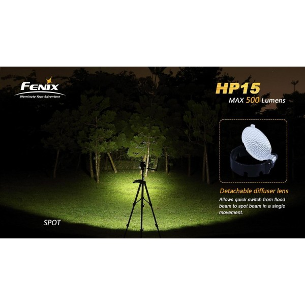 lanternă frontală LED Fenix HP15 500 lumeni
