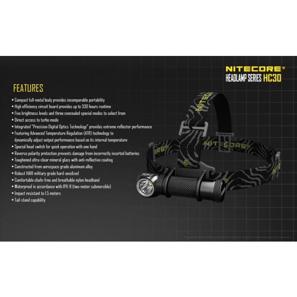 Lanternă Frontală Nitecore HC30 Lanternă Frontală Nitecore HC30
