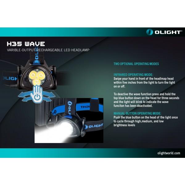 Lanternă frontală Olight H35 Wave