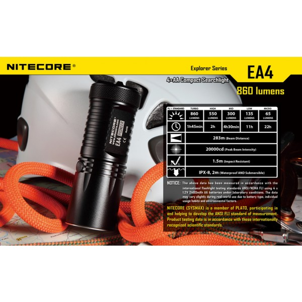 Lanterna LED Nitecore EA4 (White)