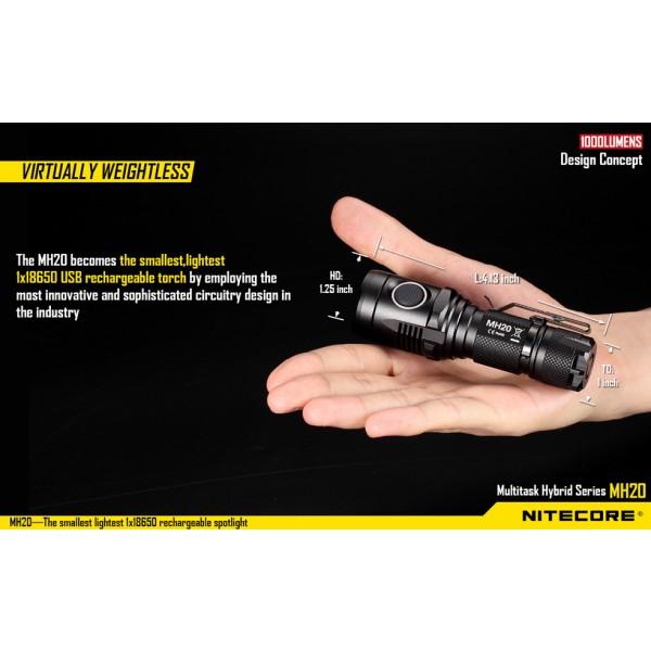 Lanterna LED Nitecore MH20 reincarcabila USB