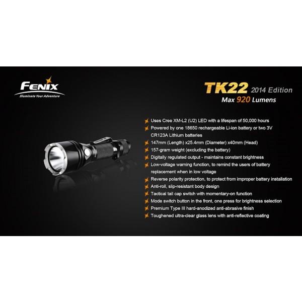 Lanterna LED Profesionala FENIX TK22 XM-L2 (U2) 920 lumeni
