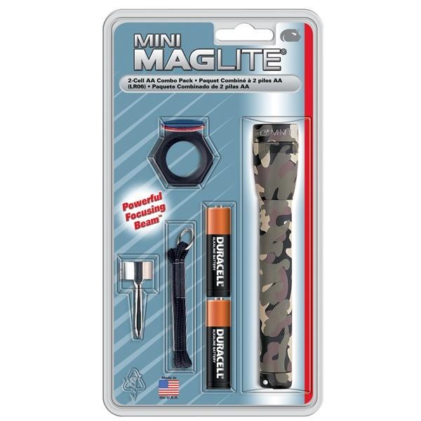 Lanternă Mini Maglite M2A02C, 2 x AA combo/ camuflaj