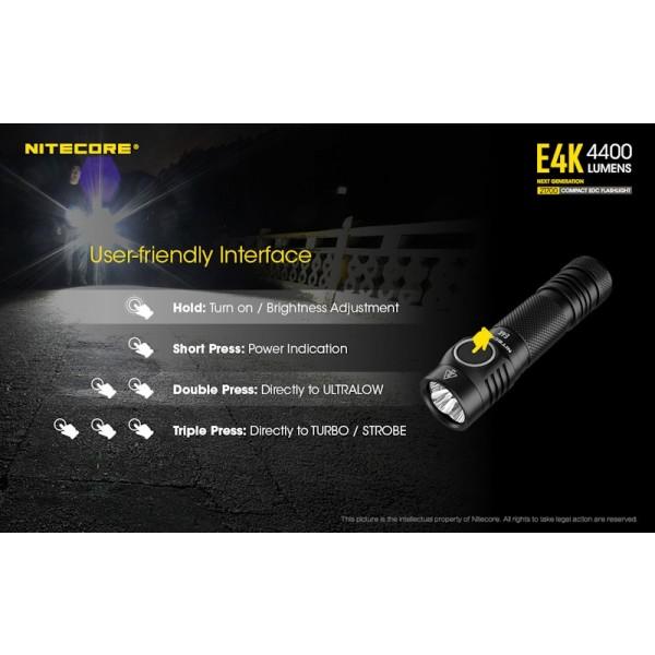 Nitecore E4K, Lanterna Reîncărcabilă USB-C