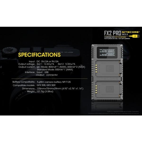 Nitecore FX2 Pro, Incarcator Acumulatori FujiFilm