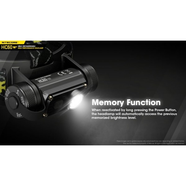 Nitecore HC60V2, Lanternă Frontală, Reîncărcabilă USB-C, 1200 Lumeni, 130 Metri