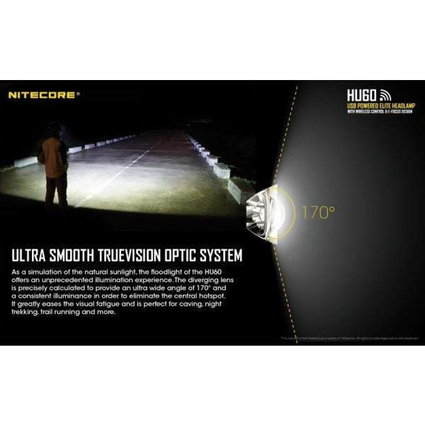 Nitecore HU60, Lanternă Frontală, Reîncărcabilă USB, Brațară Control Wireless, 1600 Lumeni, 162 Metri