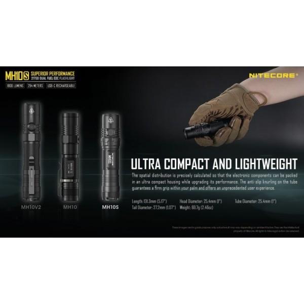 Nitecore MH10S, Lanternă, Reîncărcabilă USB-C, 1800 Lumeni, 294 Metri
