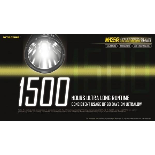 Nitecore MH25S, Lanternă, Reîncărcabilă USB-C, 1800 Lumeni, 504 Metri