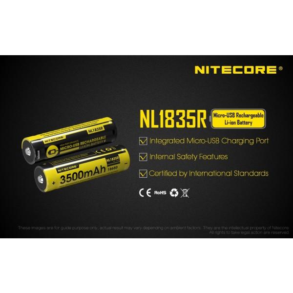 Acumulator Nitecore 18650 Li-Ion 3500 mAh NL1835R, Reincarcabil USB