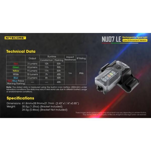 Nitecore NU07LE, Lanternă semnalizare, Reîncărcabilă USB-C
