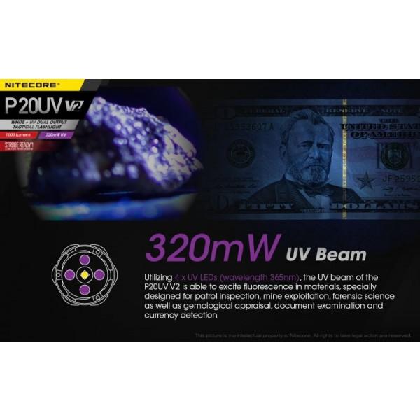 Nitecore P20UV V2, Lanternă Tactică, Led UV, 1000 Lumeni, 174 Metri