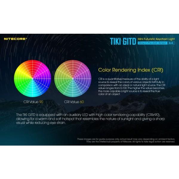Nitecore TIKI GITD BLUE, Lanternă Breloc, 300 Lumeni, 71 Metri