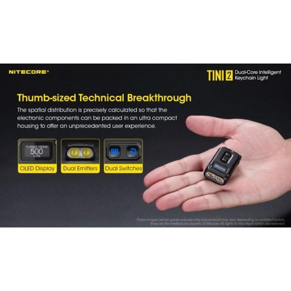 Nitecore TINI2, Lanternă Breloc, Reîncărcabilă USB-C, 500 Lumeni, 89 Metri
