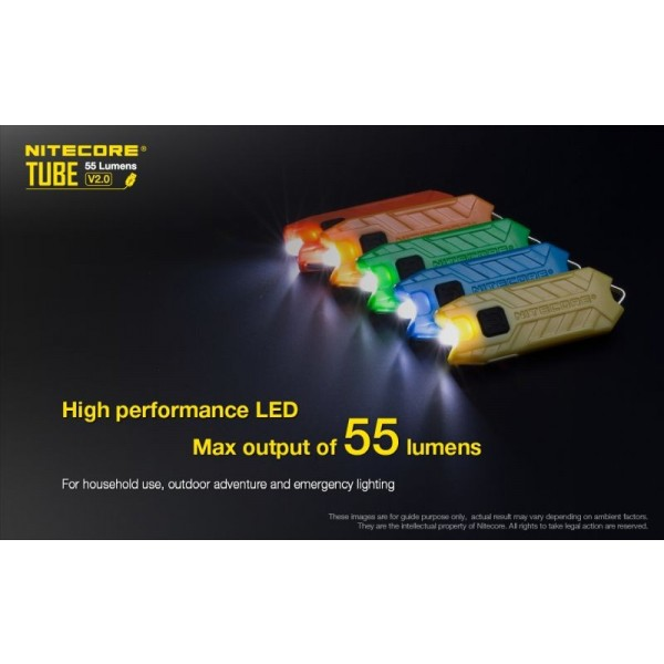 Nitecore Tube V2.0, Lanterna, Reîncărcabilă Micro USB, Neagră, 55 Lumeni, 25 Metri