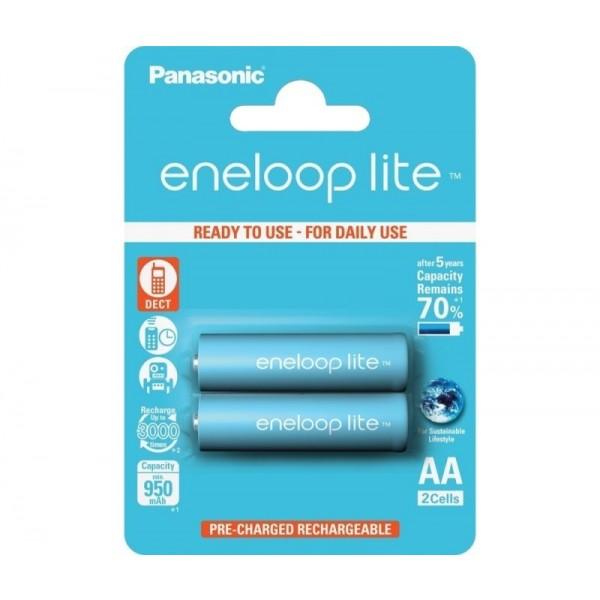 Panasonic Eneloop Lite HR-3UQ-2BP, Acumulatori AA R6, 1000 mAh, NIMH